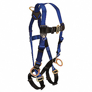 XL/2XL Full Body Harness, 5000 lb. Tensile Strength, Blue/Black