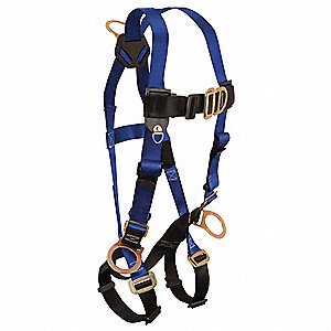 Standard Non-belted Full Body Harness with 425 lb. Weight Capacity, Blue/Black, S/M