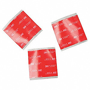 "Acrylic Double Sided VHB Tape, Acrylic Adhesive, 20.00 mil Thick, 1-1/2"" X 1-1/2"", Clear"