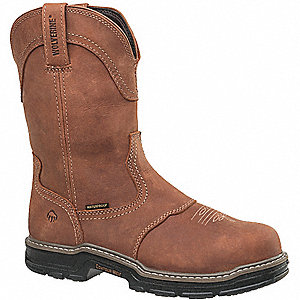 "10""H Men's Work Boots, Steel Toe Type, Brown, Size 7-1/2M"