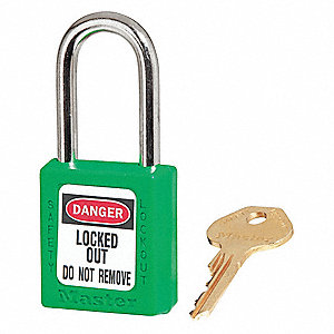 Green Lockout Padlock, Alike Key Type, Master Keyed: No, Thermoplastic Body Material
