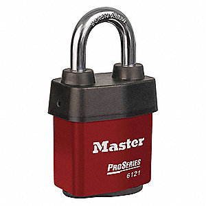 Red Lockout Padlock, Different Key Type, Steel Body Material, 1 EA