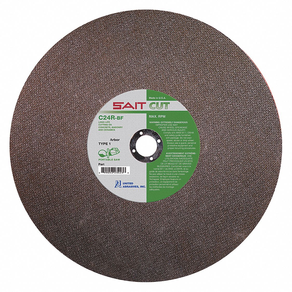 14 in,  Type 1 Silicon Carbide Abrasive Cut-Off Wheel,  1 in Arbor Hole Size,  0.125 in Thickness