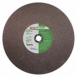 "14"" Type 1 Silicon Carbide Abrasive Cut-Off Wheel, 25/32"" Arbor, 0.125""-Thick, 5460 Max. RPM"
