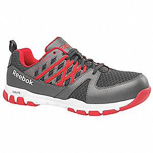 Oxford Height Men's Athletic Work Shoes, Steel Toe Type, Gray/Red, Size 8W