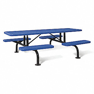 ULTRASITE D X W Rectangle Steel Picnic Table Blue JT - 96 picnic table