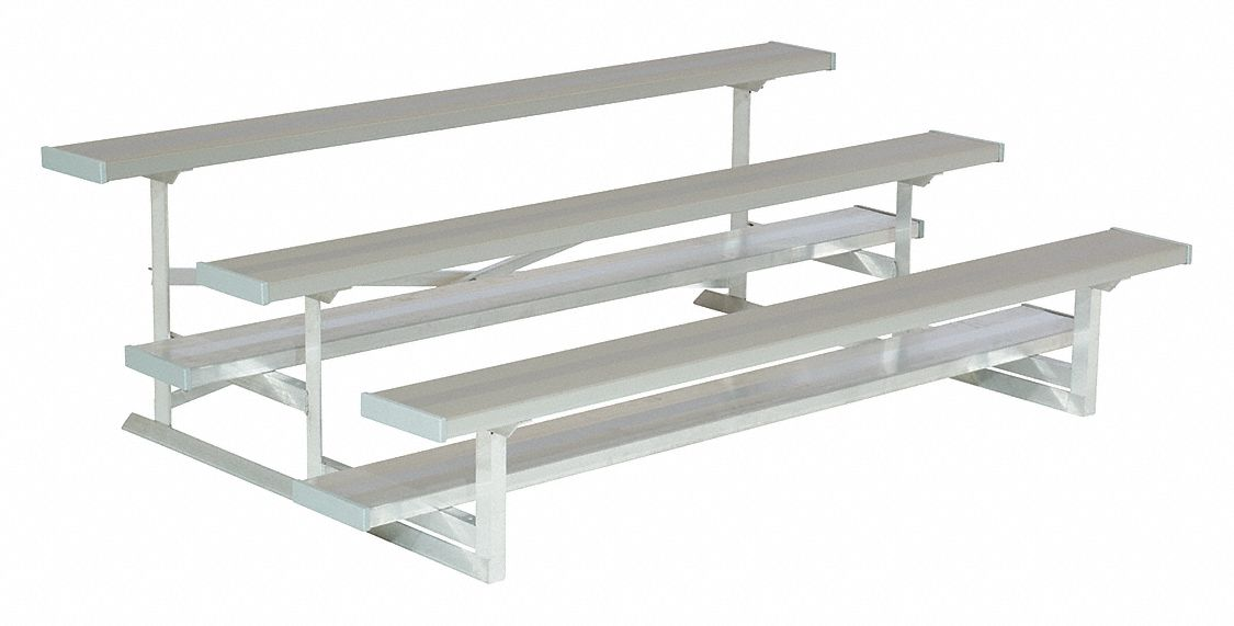 7 1/2 ft Bleacher with 15 Seats in 3 Rows, Aluminum
