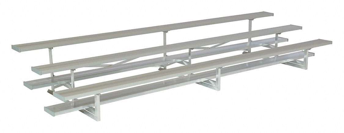 15 ft Bleacher with 30 Seats in 3 Rows, Aluminum