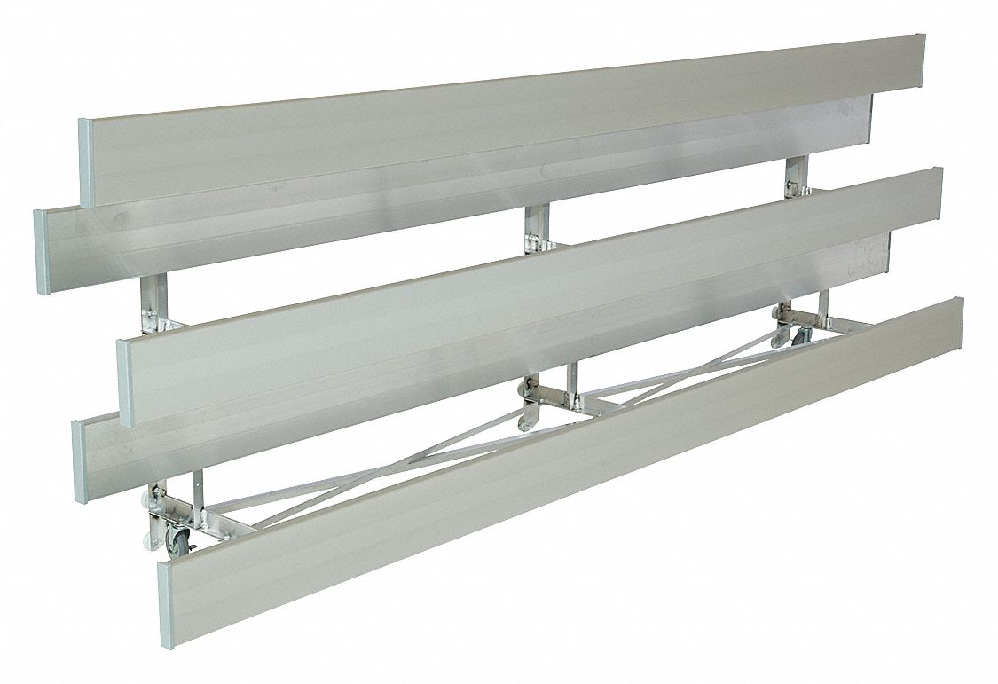 9 ft Bleacher with 18 Seats in 3 Rows, Aluminum