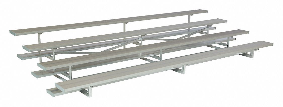 15 ft Bleacher with 40 Seats in 4 Rows, Aluminum