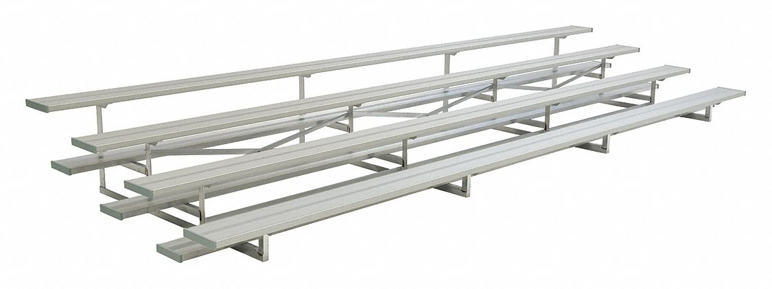 21 ft Bleacher with 56 Seats in 4 Rows, Aluminum