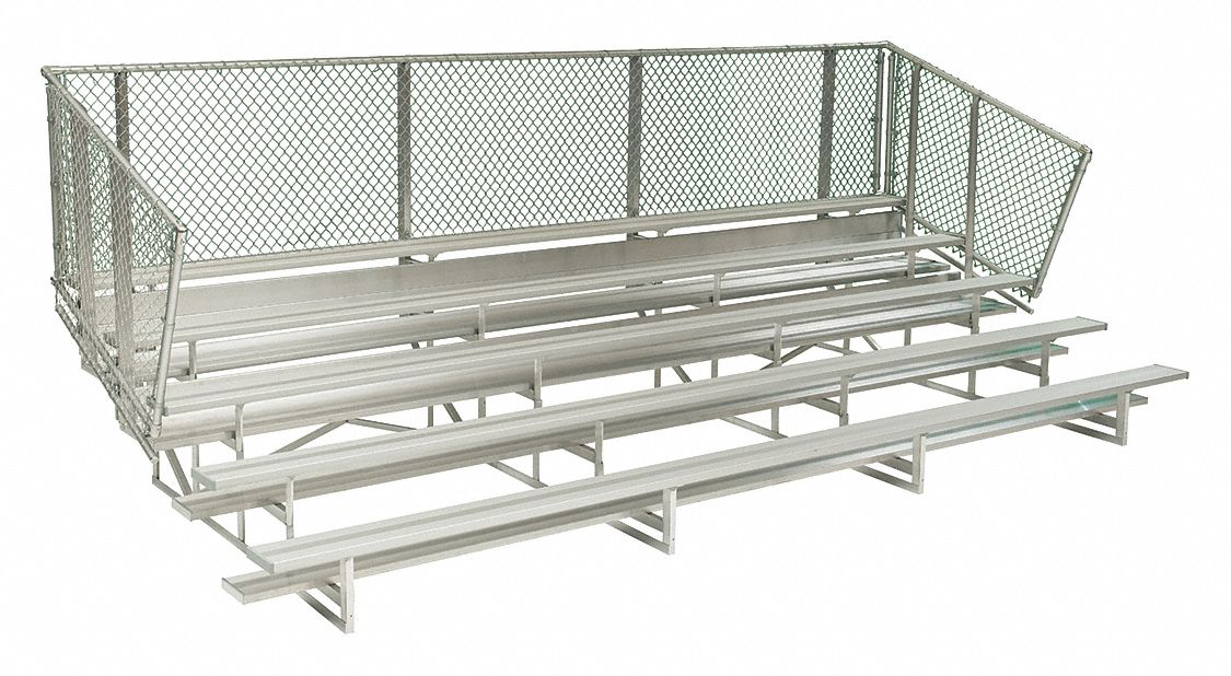 24 ft Bleacher with 80 Seats in 5 Rows, Aluminum