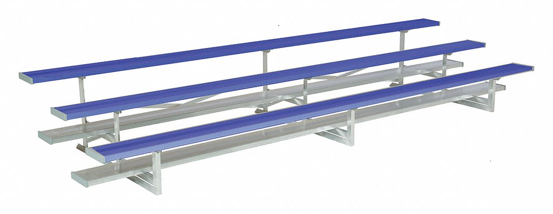 27 ft Bleacher with 54 Seats in 3 Rows, Blue