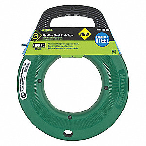 "100 ft. Fish Tape, Flexible Steel, 3/16"" Tape Size, Round Tape Profile"