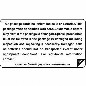 Lithium Ion Battery Label,4inx2-1/4in