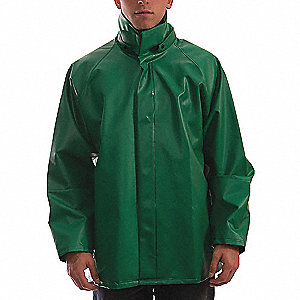 Flame Resistant Rain Jacket, PPE Category: 0, High Visibility: No, Polyester, PVC, 3XL, Green