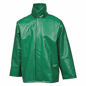 Flame Resistant Rain Jacket, PPE Category: 0, High Visibility: No, Polyester, PVC, M, Green