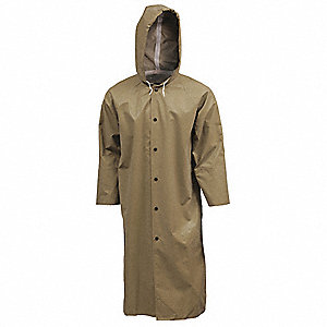 Flame Resistant Rain Coat, PPE Category: 0, High Visibility: No, Neoprene, 3XL, Tan