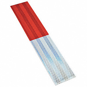Reflective Tape Strips,Red/White,PK10