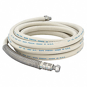 "50'L EPDM and Steel Body/Brass Couplings Hose, 3/4"" Pipe Size, Cream"