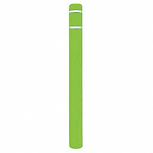 "64""H High Density Polyethylene Bollard Cover For Post Size with 4-1/2"" dia., Lime Green"
