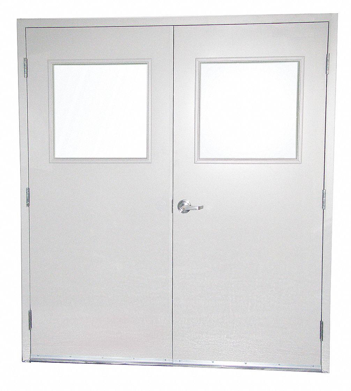 PORTAFAB Double Door wGlassSteel84Hx72WWhite 45K9636070DG