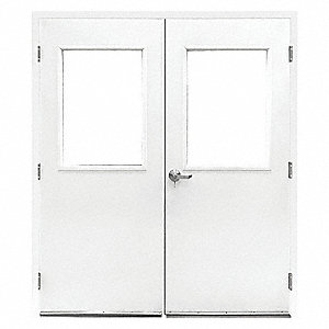 Double Door w/Glass,Steel,84Hx72W,White