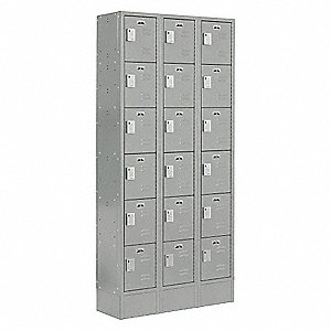 "Gray Box Locker, (3) Wide, (6) Tier , Openings: 18, 36"" W X 18"" D X 82"" H"