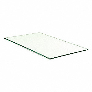 "Tempered Glass Shelves, 10""W x 3/16""H x 16""L, Glass, Clear"
