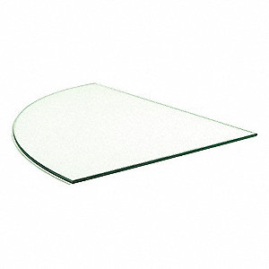 "Tempered Quarter Round Glass, 14""W x 3/16""H x 14""L, Glass, Clear"