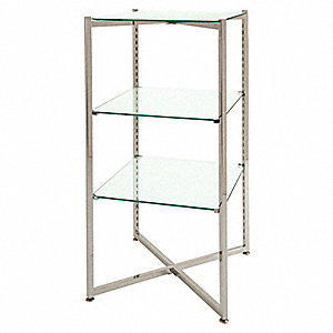 "Glass Fldng Tower,Steel/Glass,18""L,18""W"