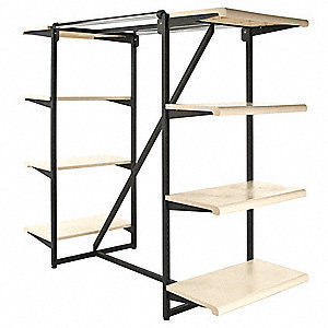 "Double Frame with Shelves, 24""W x 54""H x 38-1/4""L, Steel and Plastic, Finish: Matte, Black/Beige"