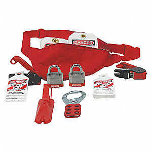 Lockout/Tagout Kit, Filled, Electrical Lockout, Pouch, Red