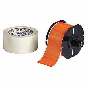 Indoor B-483/B-634 ToughStripe™ Polyester with Polyester Overlaminate Label Tape Cartridge, Orange,