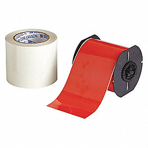 Red B-483/B-634 ToughStripe  Polyester with Polyester Overlaminate Label Tape Cartridge, Indoor Labe