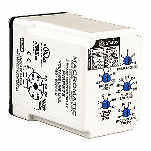 Phase Monitor Relay, 480 to 600VAC, 10A @ 277V, 7A @ 30V, 8 Pins, SPDT