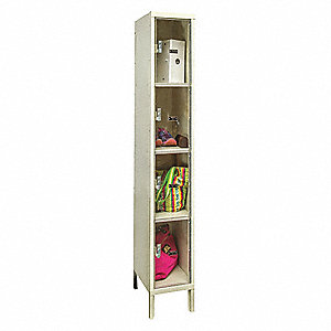 "Parchment Box Locker, (1) Wide, (4) Tier , Openings: 4, 12"" W X 12"" D X 78"" H"