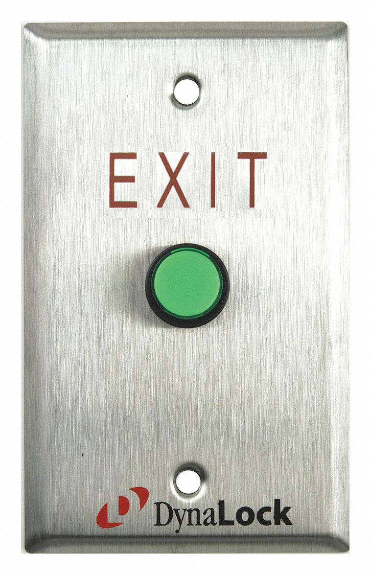 Push to Exit Button,  Momentary,  Stainless Steel,  5/8 in Button Dia.
