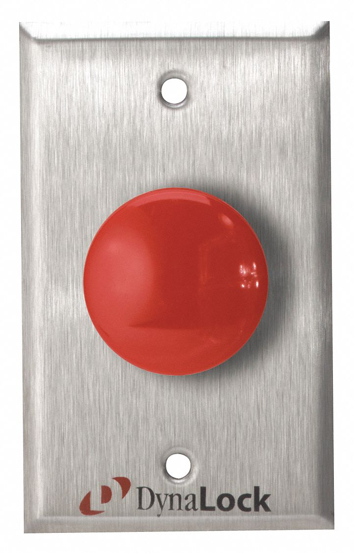 Exit Push Button,  Momentary Mushroom,  Stainless Steel,  1-5/8 in Button Dia.