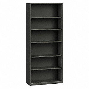 "34-1/2"" x 12-5/8"" x 81-1/8"" Brigade Series Bookcase with 6 Shelves, Charcoal"