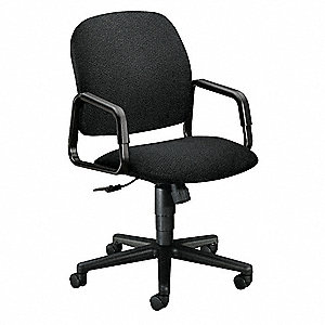 "Black Fabric Managers Chair 21"" Back Height, Arm Style: Fixed"