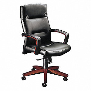 "Black Vinyl Executive Chair 26"" Back Height, Arm Style: Fixed"