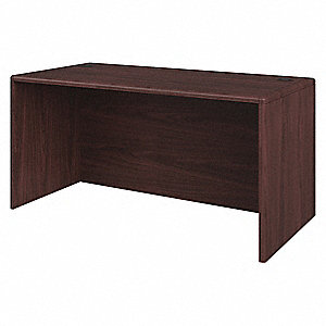 Office Desk Shell,30 in. D,Mahogany