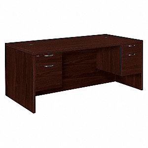 Office Desk,36 in.D,Mahogany,4 Drawers