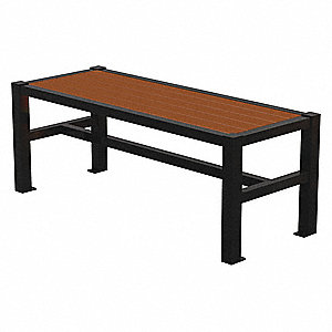 Outdoor Bench,48 in. L,18-3/4 in. W,Blck