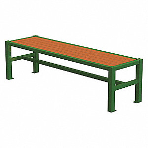 Outdoor Bench,70 in. L,18 in. H,Green