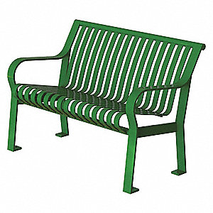 Outdoor Bench,48 in. L,27-1/2 in. W,Grn