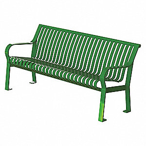 Outdoor Bench,71 in. L,27-1/2 in. W,Grn