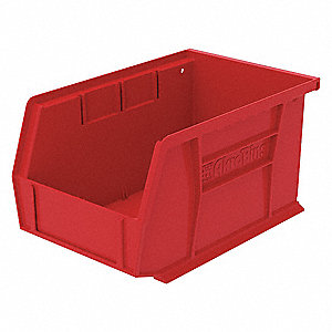 "Hang and Stack Bin, Red, 9-1/4"" Outside Length, 6"" Outside Width, 5"" Outside Height"
