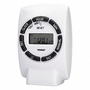 Plug In Timer, White, Min. Time Setting: 1 min., Max. Time Setting: 23 hr., 59 min.